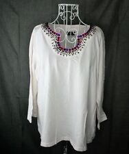 Lark Lane Pullover Top Ladies Size XL Cream Beaded Neckline Cotton Spandex