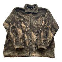 VTG 90s Mazmania Wolf All Over Print Brown Full Zip Soft Fleece Jacket Men's XL