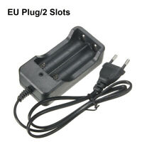 LED Indicator Portable Dual Slots EU Plug Smart AC Charger 18650 Li-ion Battery