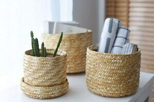 Handmade Straw Woven Storage Basket  Snack Organizer Storage Box  Flower Basket