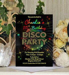 Personalised Disco Party Kids Childrens Birthday Invitations Invites