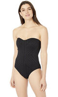 Kenneth Cole REACTION $124 Women's Bandeau One Piece Swimsuit, Black, Sz L, New!