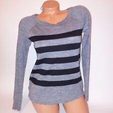 Ann Taylor Sweater Womens Small Black Gray Stripe Lightweight Long Sleeve