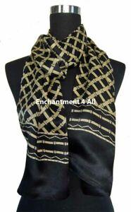Double Layer 100% Silk Satin Plaid Neck Scarf Wrap, Black