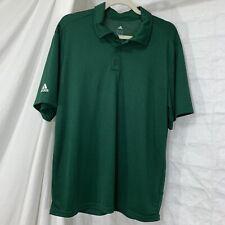 Adidas Climalite Mens M Polo Shirt Green White Logo Short Sleeved 1/4 button #Ww