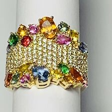 """Beautiful """" Effy """" Rare Watercolors Collection 14k Gold Sapphires & Diamond Ring"""