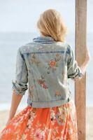 Johnny Was Lidia Denim Jacket Jeans Blue Butterflies Flowers NW XXLarge XXL Jean