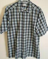 Columbia Men's Size M Short Sleeve Button Down Multicolor Plaid Shirt