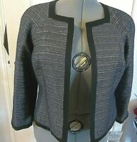 Kasper Black Gray Blue Bling Women Lined Jacket 6 New With Tags