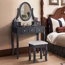Makeup Dressing Table Laptop Desk and Stool Set with 5 Drawers Black Furniture