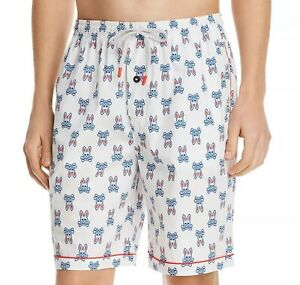 Psycho Bunny Men's New England White All Over Bunny Woven Cotton Lounge Shorts