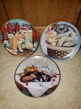 Lot of 3 Franklin Mint Cat Kitten Collector Plates; Barnyard, Cat Nap, 3 Kittens