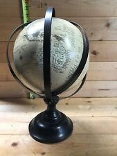 "8"" X 13"" Spinning World Globe With Wood Stand Desktop Office Decor"