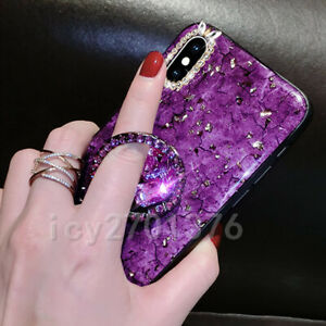 3D Nice Bling Marble ring holder KickStand Soft Phone back Cover Case For Huawei