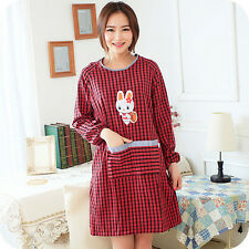 Women Cotton Red Plaid Long Sleeve Anti-wear Cooking Kitchen Apron With Pockets