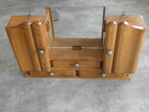 Vintage Shelf stand Cabinet Cupboard Furniture Makeup Storage Mirror old wood
