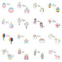 Girls Kids 925 Sterling Silver Stud Earrings Unicorn Rainbow Princess Feather
