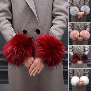 Women Warm Armer Elegant Plush Cuffs Oversleeve Faux Fur Outdoor Winter Trendy