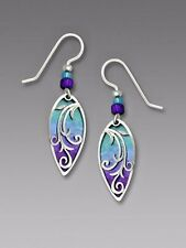 Adajio Pearl BLUE and VIOLET Almond EARRINGS Sterling Silver Dangle - Gift Boxed