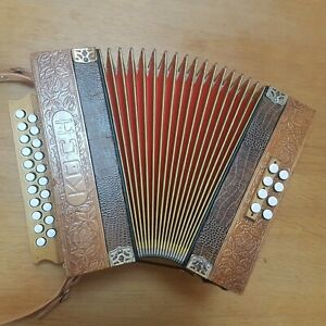 Melodeon 2 row D/G Hohner Koch Presswood diatonic accordion 21 treble and 8 bass