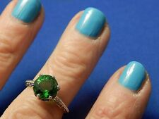 2.82ct Round Green Moldavite Filigree Sterling Silver Ring Free Sizing