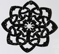 ROSACE couleur NOIR Patch termocollant  hotfix Glitter 5 cm