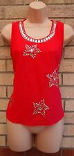 RIBBON RED STAR BEADED SILVER BAGGY  BLOUSE TOP T SHIRT TUNIC CAMI VEST 8 S