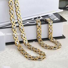 Mens Fine Jewelry Stainless Steel 8mm Flat Byzantine Necklace Chain Bracelet Set