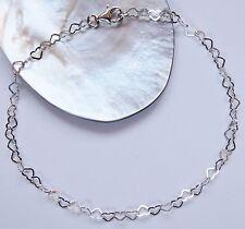 Armband Silber 925 Herz Herzchen Armkette Charm 18 20 22 24 26 cm. Fusskettchen