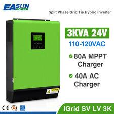 3KW Grid Tie Inverter 2400W 24V 110~120V 80A MPPT Charger Hybrid Solar Inverter