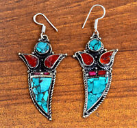 Turquoise Coral Earrings Nepal Tibetan Jewelry Ethnic Bohemian Boho Hippie Gypsy
