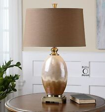 """30""""CERAMIC TABLE LAMP FIRED IVORY RUST BROWN FINISH ANTIQUED GOLD DETAILS LIGHT"""