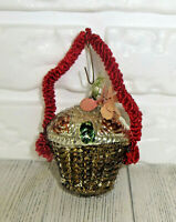 Antique Wire Wrapped Vase Basket Flower Mercury Glass Christmas Ornament 4 1/2""