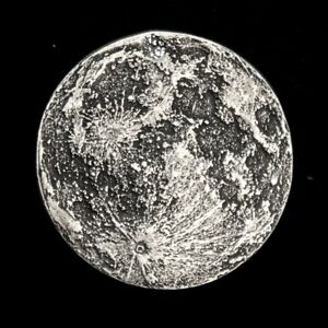 Full Moon 1/4 oz .999 Silver Antiqued Finish Worry, Gift Or Reminder Coin W/OMP