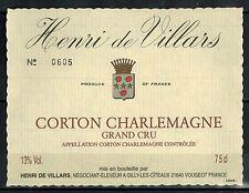 Etiquette de Vin - Bourgogne -Corton Charlemagne - Grand Cru-Villars - Réf.n°183