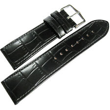 22mm Hirsch Louisiana Mens SHORT Black Alligator-Grain Leather Watch Band Strap