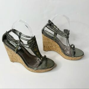Steve Madden Silver Embellished Wedge Heel Sz 8 Womens Double Strap P-Vycce