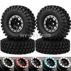 "4P 1.9"" Beadlock Wheel Rim 112mm Rocks Tire Fits 1/10 RC Crawler SCX10 TRX4 CC01"