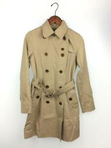 Authentic Womens classic Burberry blue label beige cotton trench coat Size 38