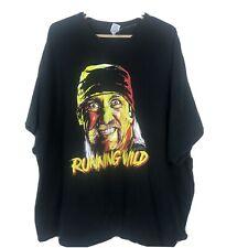 "Vintage Hulk Hogan Men's 5XL ""Running Wild"" T Shirt Cotton Black Short Sleeve"