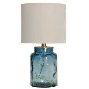 StyleCraft 25.5 in. Blue Table Lamp with White Hardback Fabric Shade TL13695DS