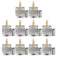 10x Connector UHF Male PL259 Plug Crimp RG 58 142 LMR195 RG400 Cable Straight E1