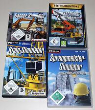 4 PC SPIELE SAMMLUNG - BAUMASCHINEN KRAN BAGGER SPRENGMEISTER SIMULATOR 2012