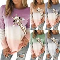 Womens Long Sleeve Giraffe T-Shirts Tee Casual Baggy Fit Blouse Tops Loungewear