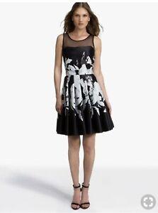 Halston Heritage Women/'s Halter Mini Dress Floral Embroidery Chalk//Black 525 0