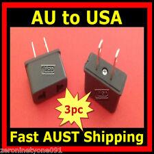 AU Aust NZ to US USA Style AC Power Travel Plug Adapter Converter Mini 3pc