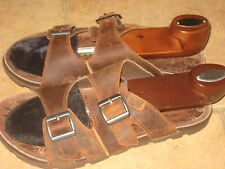 Chaco Pinecone Mens 10 Brown Leather Double Buckle Slides Sandals Shoes