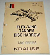 Krause 7300 Series Flex Wing Disc Harrow Owners Operators Parts Manual Original