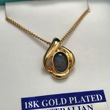 Toscow 18K Gold Plated Australia Triplet Opal Chain Necklace New in Box 1 of 3