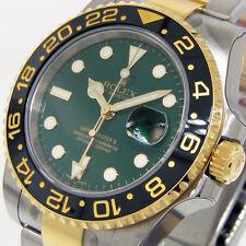 ROLEX GMT MASTER ll 116713 STEEL GOLD CERAMIC BEZEL GREEN DIAL